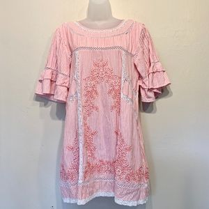 Free People | Lace Embroidered Peasant Mini Dress